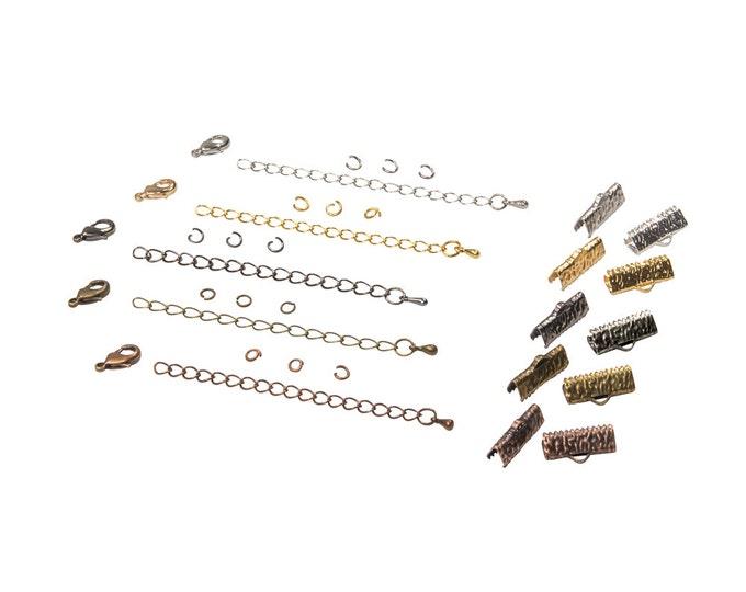 16mm  ( 5/8 inch ) Ribbon Choker or Ribbon Bracelet Findings Kit - Bronze, Gold, Silver, Gunmetal, Copper, or Mixed - Artisan & Dots Series