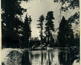 Serene pond antique landscape photo