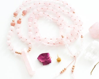 Japa Mala, 18K rose gold mala, Rose quartz pendant, Hand-knotted mala, Rose quartz mala, Moonstone japa mala, Unconditional love mala