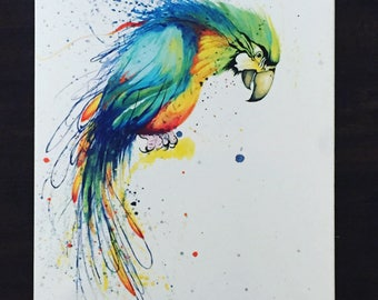 ORIGINAL colorful modern art parrot painting