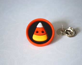 Candy Corn Pin -- Candy Corn Brooch, Orange Candy Corn Pin, Halloween Pin, Candy Corn