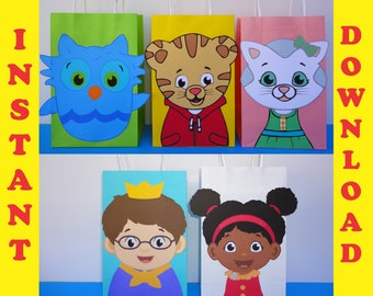 Daniel Tiger and Friends Party Favor Bags/ Daniel Tiger Birthday Party/ Daniel Tiger Party Favors/ Daniel Tiger goody/ Treat/ Gift Bags
