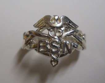Ladies 4 Band BSN Nurse's Caduceus Sterling Silver or Gold Puzzle Ring 4BSN