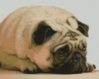 "Pug 2 puppy Dog Counted Cross Stitch Kit 12"" x 9.25"" 30.6cm x 23.4cm"
