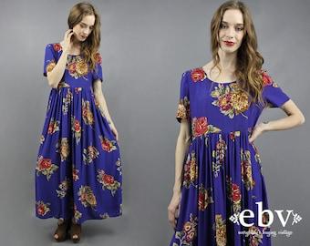 Floral Maxi Dress 90s Maxi Dress 90s Floral Dress 1990s Maxi Dress 1990s Dress 90s Party Dress 90s Dress Blue Floral Dress S M L
