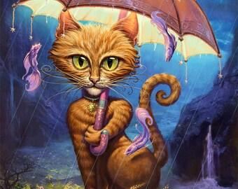 "Orange Tabby // 11"" x 14"" print // cat art print // cat painting // Happy Cat  // Umbrella Cat  // Personal Sunshine"