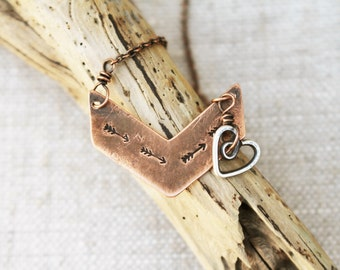 Chevron Necklace, Follow Your Heart, Arrow, Heart, Choice of Copper, Brass or Silver