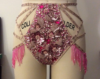 Art Deco style panty, pink embelishement, shimmy belts