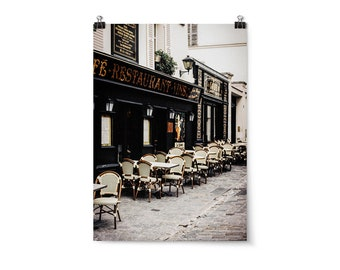 "Large Wall Art, Paris Home Decor, Neutral Wall Art, Fine Art Print, Travel Art Print, Affordable Wall Art, ""Montmartre Sidewalk Cafe"""
