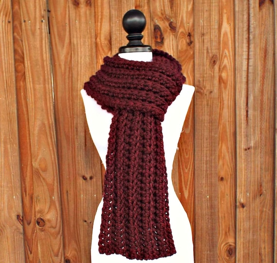 Crochet Scarf Womens Scarf Mens Scarf Ribbed Scarf - Wellington Scarf Red Scarf Burgundy Scarf - Womens Accessories - 34 Color Choices