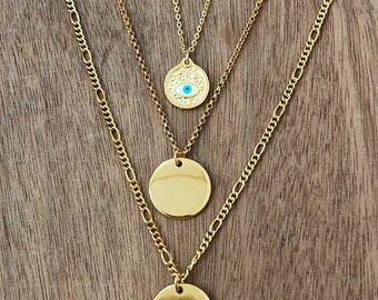 Evil Eye Gold Boho Layered Necklaces • Gold Round Pendant Necklace • Gold plated Brass • Boho Rock Gypsy Chain Necklace