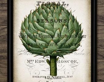Vintage Artichoke Print - Artichoke Illustration - Artichoke Decor - Botanical - Kitchen Decor - Single Print #1074 - INSTANT DOWNLOAD