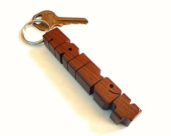 Name Keychain in Rosewood, Carved to Order