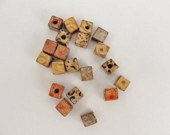 Square printed bead 8mm set of 20