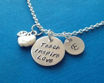 Personalized necklace - Teacher's Gift - Silver plated chain with Aluminum plate and Apple charm