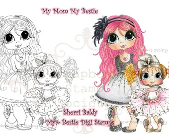 INSTANT DOWNLOAD Digital Digi Stamps Big Eyed Gill My Mom My Bestie Digi Stamp Besties Big Head Dolls Digi By Sherri Baldy