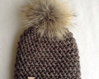 Very large fur Pom Pom crochet hat, super large, lined with fleece