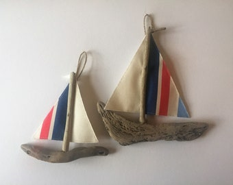 Driftwood sailing boat hanging decoration - large