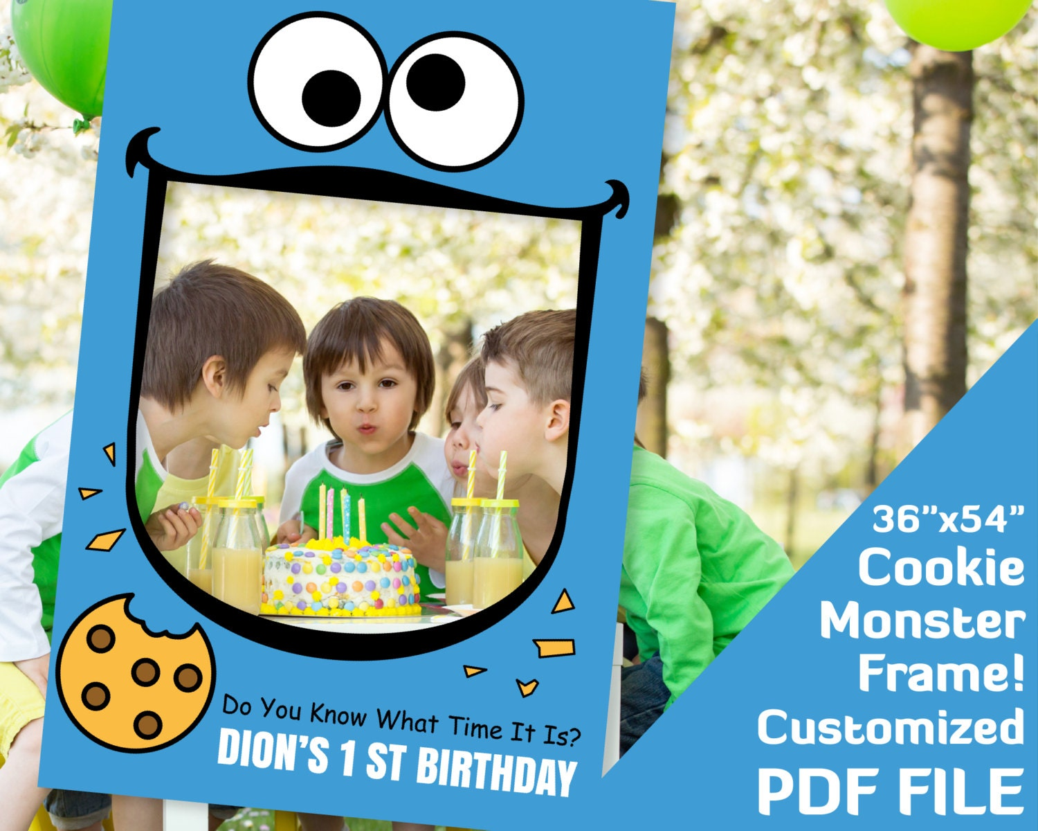 Cookie Monster first birthday frame cookie monster party