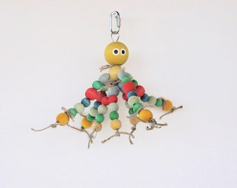 OctoBuddie Bird Toy for Medium to Large Birds / Bird Chew Toy / Colorful Bird Toy / Amazon Parrot Toy / African Grey Toy / Bird Toys