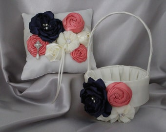 White flower girl basket with red satin flowerblack satin ivorywhite flower girl basket singed flower in navy coral satin flowers custom mightylinksfo