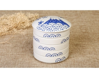 Free Shipping Chinese Calligraphy Hand Paint Five Layer Ceramic Ink Plate Watercolor Palette 9.2x8.1cm White Color 0065 Orientalartmaterial