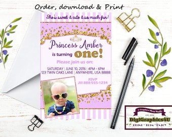 Princess First Birthday, One Year Old Baby Girl Birthday Party Invitation - Printable File