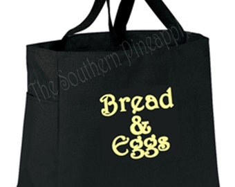 FUN TOTEEco Friendly Embroidered Reusable Grocery Bag Bread And Eggs