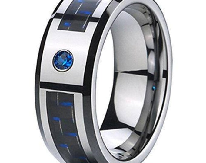 8 mm  Blue Cubic Zirconia (CZ) Black & Blue  Carbon Fiber Tungsten Carbide Men's /Women's Ring Band Sizes 6-15 - Comfort fit