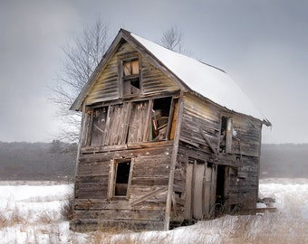 Portrait of Old Shack, Snowy Landscape Rustic Photograph, Old Barns, Free Shipping, Signed Print