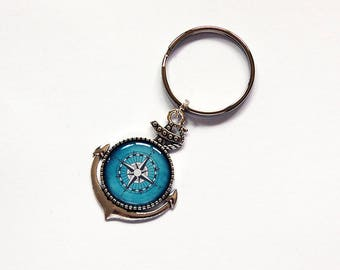 Compass keychain, Anchor key ring, stocking stuffer, keychain, keyring, nautical, gift under 10, compass key ring, blue, compass (7844)