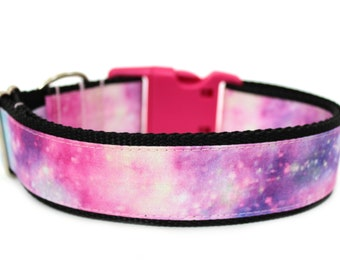 "Galaxy Dog Collar 1"" or 1.5"" Pink Dog Collar Pink Galaxy Dog Collar"