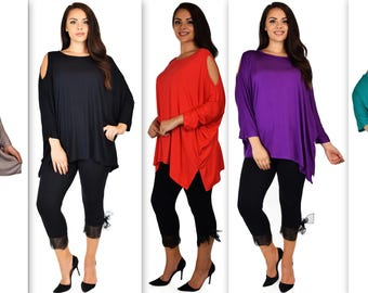 New Versatile Tunic Cold shoulder Tunic, Summer Magic Poncho tunic in Lagenlook Top, Plus size Top, Comfortable and Trendy Fits up to 5xl