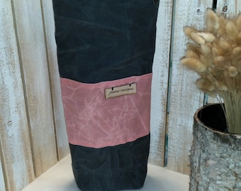 Waxed Canvas Wine Tote Shown in Charcoal with Pink Accents