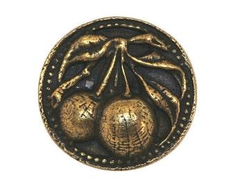 Berries 11/16 inch ( 17 mm ) Susan Clarke Metal Button Antique Brass Color
