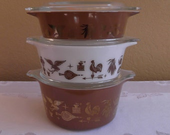 Pyrex Early American 3 Piece Bake-Serve-Store Casserole set with lids: Numbered #471, #472, and #473