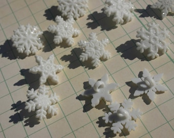 "Snowflake Buttons - Glitter Christmas Snow Flake Sewing Shank Button - 3/4"" Wide - 10 Buttons - CHRISTMAS"
