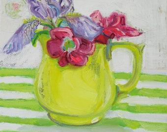 Miss Ebbies Iris orginal acrylic mixed media still life painting by Polly Jones