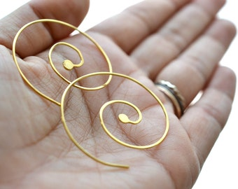 Nebulous- gold vermeil earrings, 22k gold over silver, wire earrings, spiral earrings