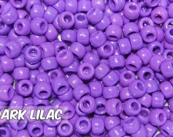 Dark Lilac Opaque 6x9 mm Barrel Pony Beads