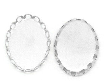 Set of 20 supports pendants 13 X 18 mm matte silver oval with edge lace