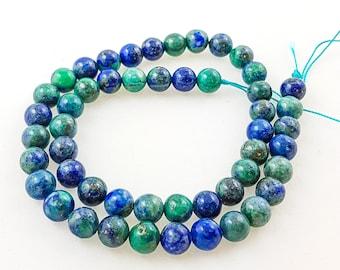 chrysocolla beads, chrysocolla, gemstone beads, semi precious, precious beads, 8mm Round Beads, earth beads, blue beads, round beads