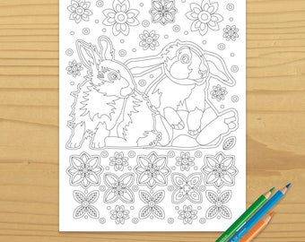 Bunny Coloring Page, Rabbit Coloring Page, Flower Coloring Page, Garden Coloring Page, Spring Coloring Page, Digital Download