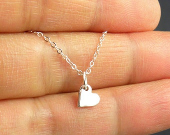 Tiny Sterling Silver Heart Dangle Necklace