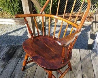 Antique Vintage Early 1800's Sack Back Hoop Back Windsor Chair