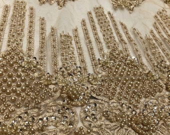 Wife of King Beaded Lace New Queen Fabric By The Yard (Champagne)