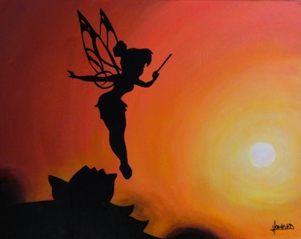 "Tinkerbell - Straight on Till Morning - Art Print Reproduction 10"" x 12"" - signed by Artist"