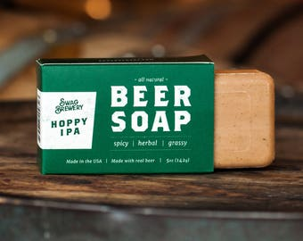 Beer Soap (Hoppy IPA) - Boxed + All Natural + Made in USA - Actually Smells Good! Perfect Gift For Beer Lovers