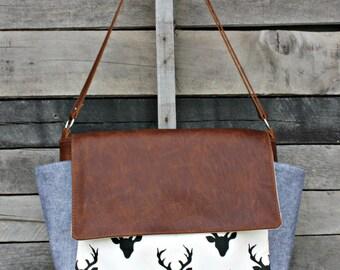 Messenger Bag, Leather Messenger Bag, Leather, Diaper Bag, Laptop Bag, Crossbody Strap, Deer and Denim, Baby Boy