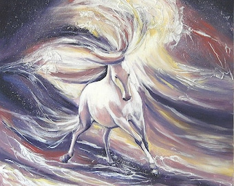 """Marine painting, """"the horse as furious and powerful  as the waves"""", oil on canvas  70x70cm"""